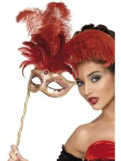 Fantasy Mask with Red Feathers
